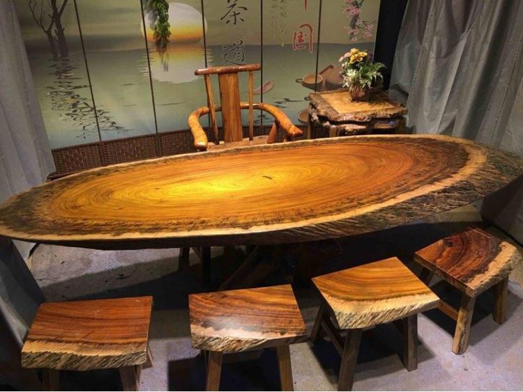 实木大板原木黑金檀奥坎红木圆桌茶桌餐桌茶台圆盘