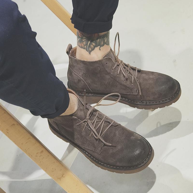 GBOY冬季马丁靴男短靴日系青年英伦复古工装靴子休闲反绒皮男鞋