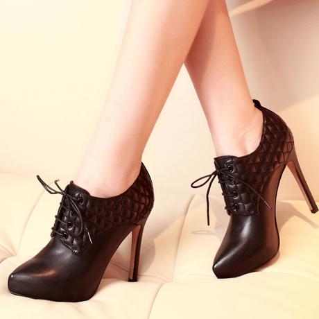 黑色高跟鞋女细跟鞋子女2018春季新款百搭真皮系带深口鞋尖头单鞋商品大图