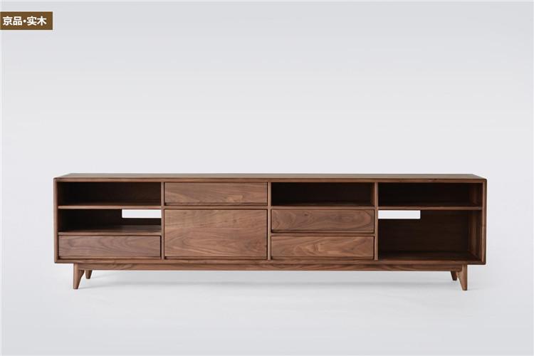 京品多格电视柜实木老榆木电视柜新中式现代简约客厅