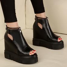 韩国春新款凉鞋女夏高跟鞋鱼嘴鞋坡跟鞋子百搭凉靴学生平底松糕鞋