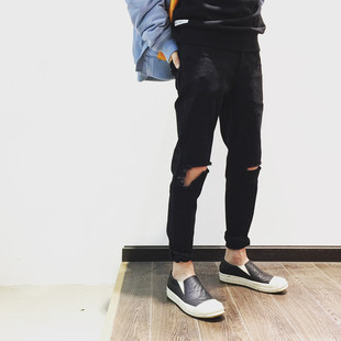 LE TROTTOIR 16AW BROKEN HOLE JEANS 黑色水洗破坏牛仔裤