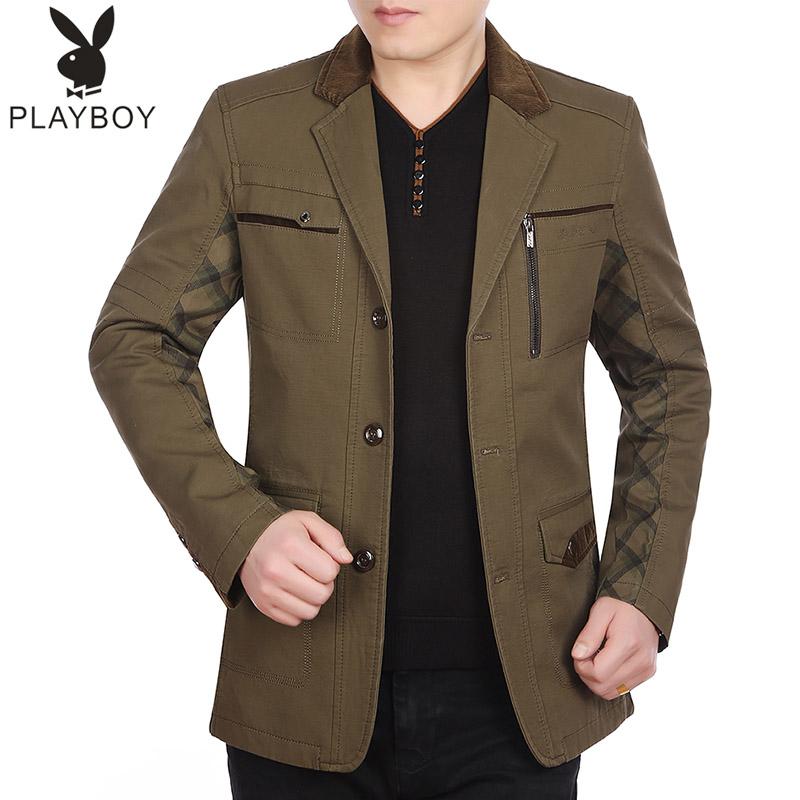 花花公子春秋中年男士薄款外套纯棉秋季夹克中老年爸爸装大码上衣