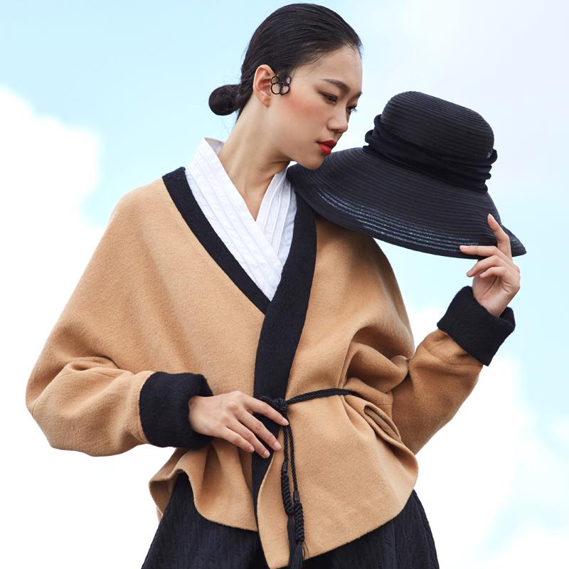 2017秋冬原创复古优雅双面米驼色呢子大衣斗篷羊毛呢短外套上衣女