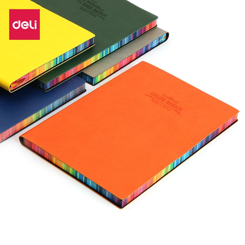 得力记事本子A5笔记本精美文艺文具彩色皮面加厚创意日记本韩国女