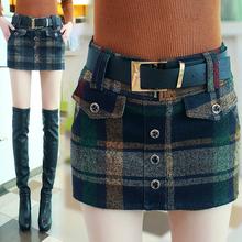 裙短裤 毛呢短裤 半身裙包臀呢子靴裤 女士格子女裤 2016秋冬季新款