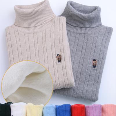 包邮 男童女童套头毛衣 儿童高领纯棉线衣 中大童针织衫 打底衫D4