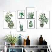 北欧客厅餐厅植物花卉DIY数字油画田园小清新装饰画龟背叶子树叶