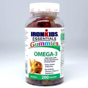 现货特惠 加拿大原装 儿童鱼油Omega3软胶糖 200粒 双倍DHA