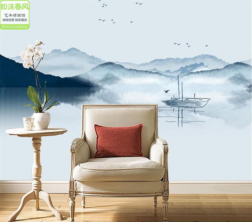 立体壁画新中式抽象水墨山水电视背景墙纸卧室沙发墙布无缝壁纸3D