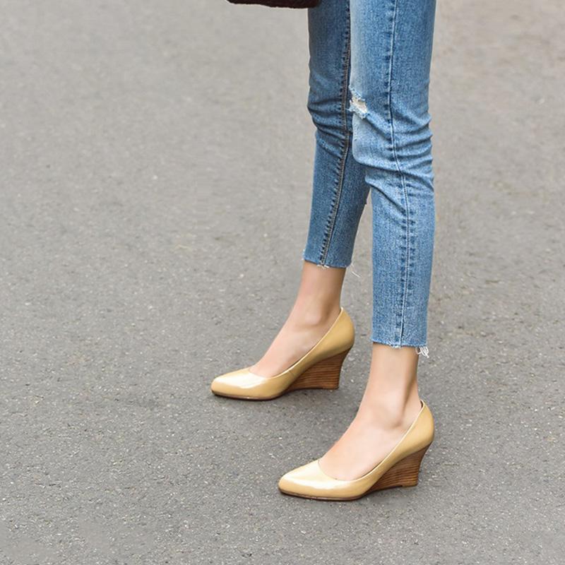 坡跟春季单鞋里外子浅口女鞋尖头真皮高跟鞋