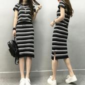 夏装新款欧货学生显瘦冰丝短袖针织条纹套装连衣裙两件套潮时尚