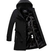 冬季风衣男士韩版中长款加厚青年妮子外套修身型英伦毛呢大衣男潮