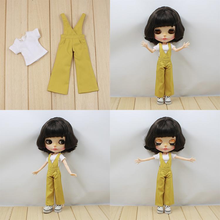 blythe小布娃娃衣服 t恤+背带喇叭裤套装