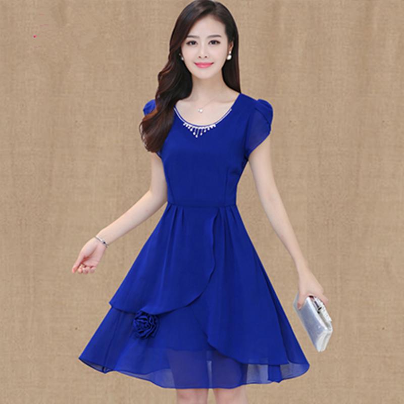 妈妈夏装季短袖雪纺连衣裙女式韩版气质修身中长款显瘦A字连衣裙