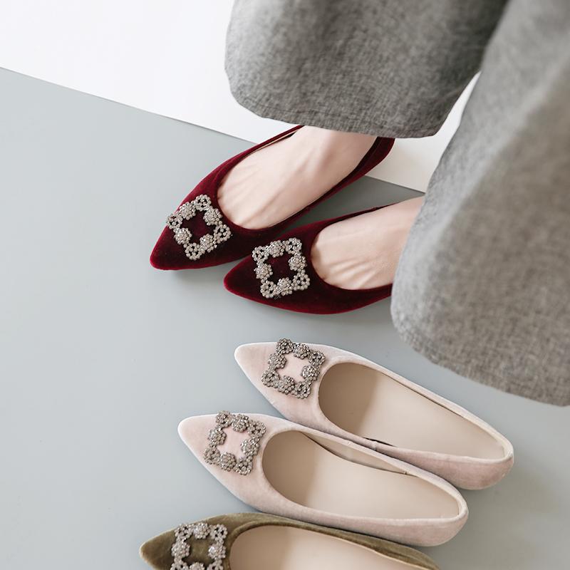 雪花中跟水钻丝绒新春单鞋坡跟尖头增高女鞋真皮