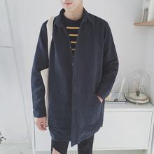 2017春夏季中长款风衣男韩版宽松薄款长袖衬衫学生英伦纯色潮外套