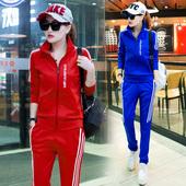 2017春新款韩版休闲大码运动套装女修身显瘦学生运动服卫衣两件套