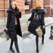 加厚大毛领连帽棉袄潮 加长过膝羽绒棉服修身 韩版 棉衣女2017冬新款