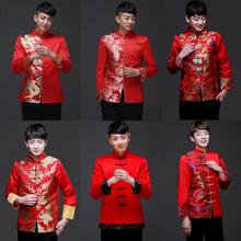 中式礼服秀禾服男装古装喜服新郎结婚红色唐装长袖中山装复古服装