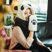 韩版帽子围巾手套一体亲子秋冬加厚围脖可爱熊猫保暖女手套连帽潮