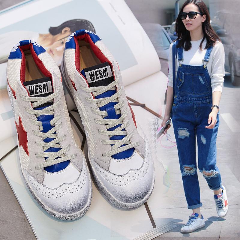 【天天特价】刘诗诗同款小脏鞋女真皮运动休闲做旧小白鞋系带板鞋