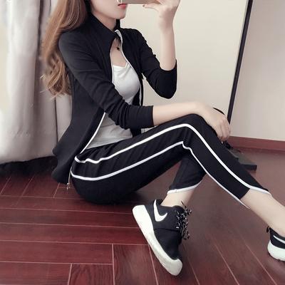 韩国健身服女瑜伽服套装三件套秋冬晨跑运动套装纯棉健身房跑步服