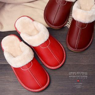 情侣棉拖鞋冬季居家男女室内地板防滑月子厚底保暖家居皮拖鞋冬天