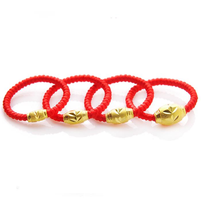 爱得缘 足金 转运珠黄金 红绳戒指 黄金指环 情侣对戒 送女友礼物