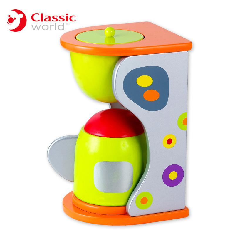 德国可来赛仿真咖啡机 生活迷你小家电木制过家家厨房电器玩具