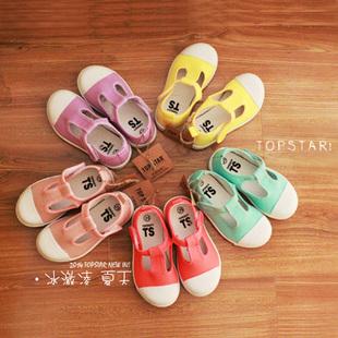 #清仓#TS正品韩国儿童帆布鞋 清新夏季宝宝软底凉鞋透气女童布鞋