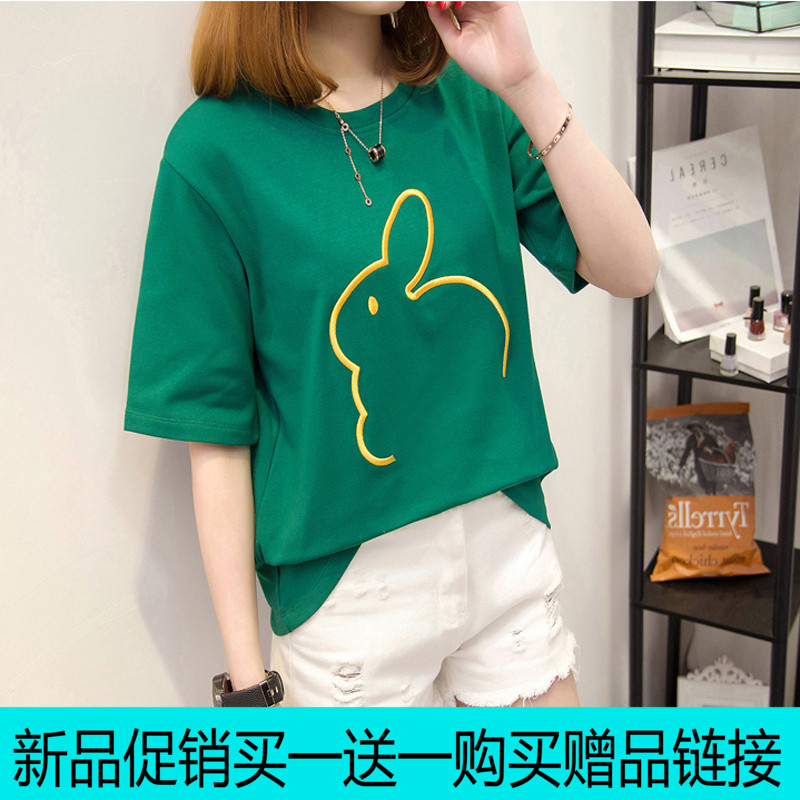 夏装短袖t恤女韩版宽松中长袖打底体恤衫2017春装新款上衣女装