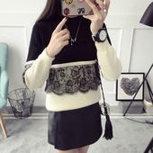 蕾丝拼接中领毛衣女套头短款打底针织衫长袖秋冬季毛线衣韩版内搭