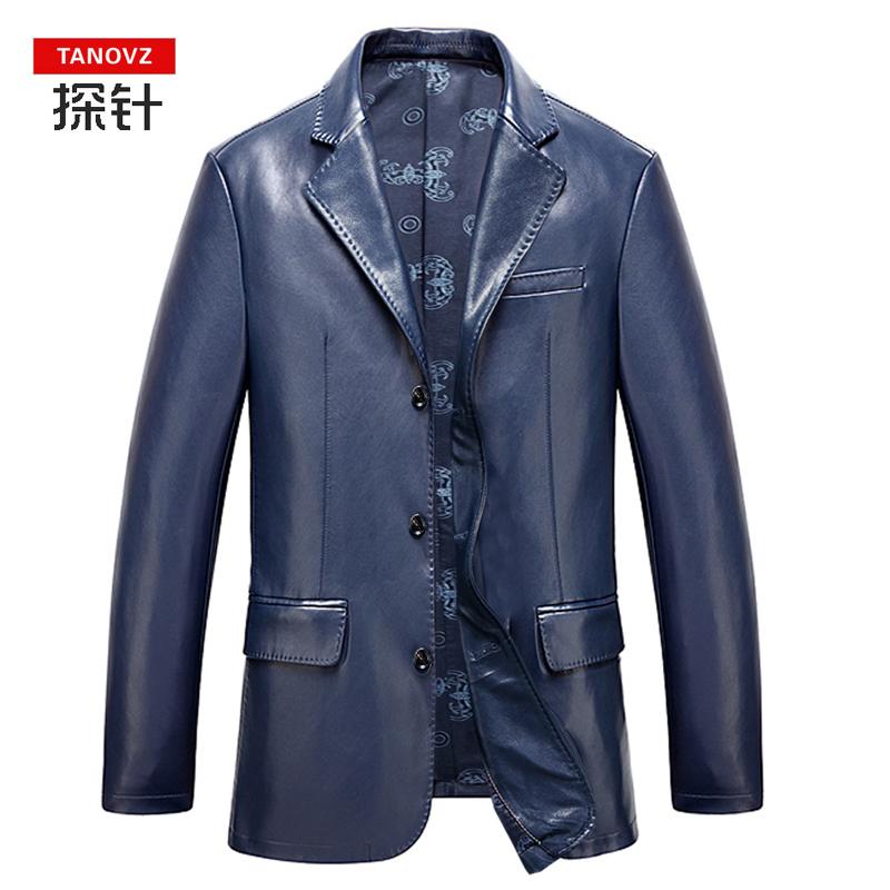 【城旺城】新款海宁男士真品西服皮衣男皮夹克西服西装外套特价