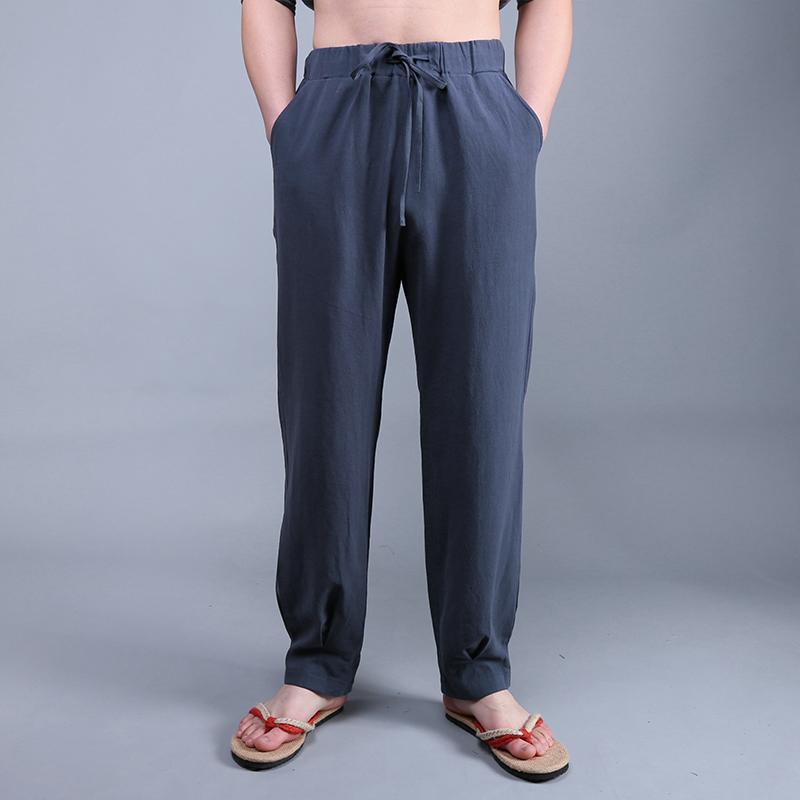 民族服装中式唐装男士亚麻宽松裤子男装国风青年汉服中