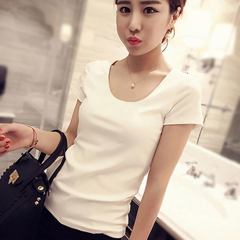 纯棉半袖白色打底修身短袖纯色