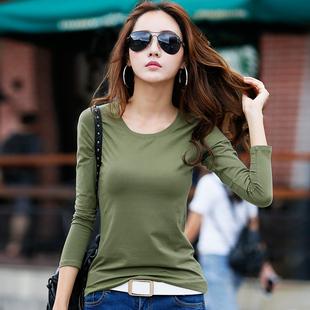 米贝尼韩版圆领体恤修身纯色长袖t恤女棉紧身上衣纯白色打底衫潮