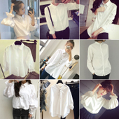白衬衫 女学生宽松打底衫 韩范衬衣百搭衬衫 新款 2017潮长袖 韩版 春装