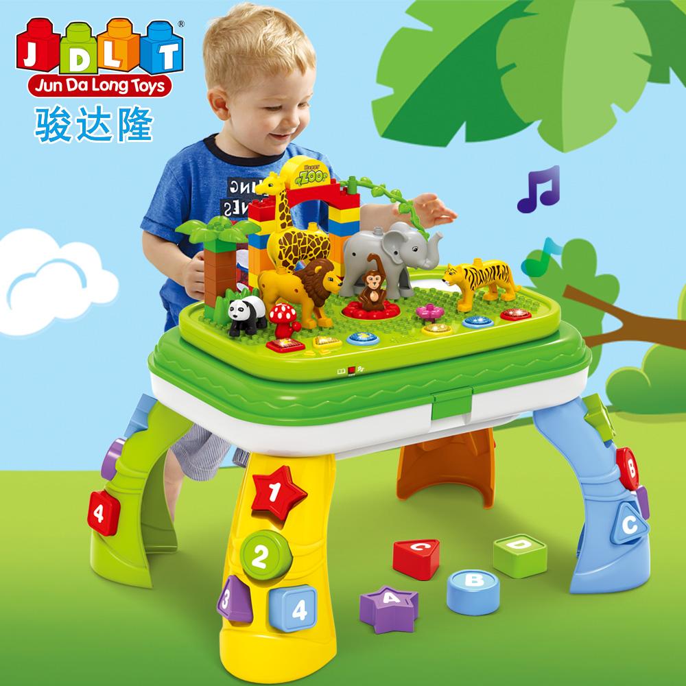 儿童幼儿园玩具大颗粒多功能积木桌子音乐灯动物园2
