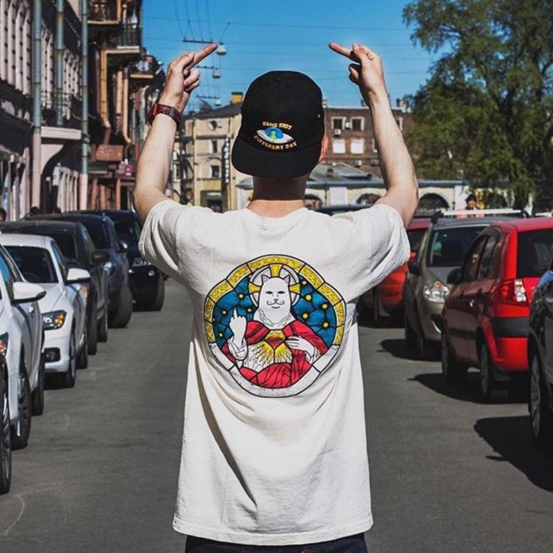 原创潮牌宽松皇家教皇圣母中指贱猫印花纯棉圆领短袖男女情侣T恤