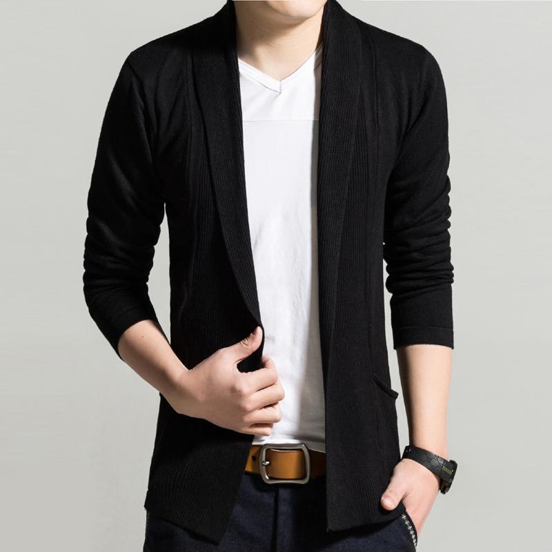 開衫青年針織 春季長袖開衫男士純色外套針織 衣服
