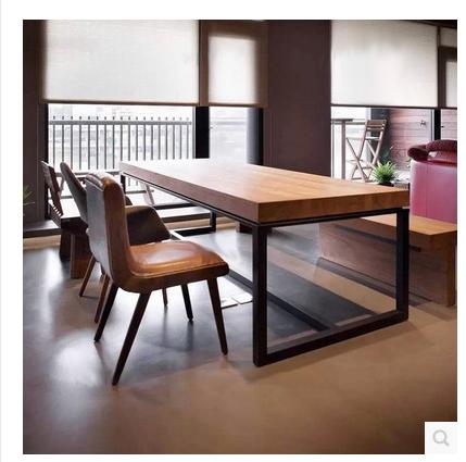美式实木餐桌复古办公桌简约电脑桌书桌长方形会议桌