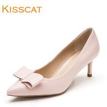 KISSCAT接吻猫2017秋新款甜美蝴蝶结羊皮时尚尖头单鞋KA87511-11图片