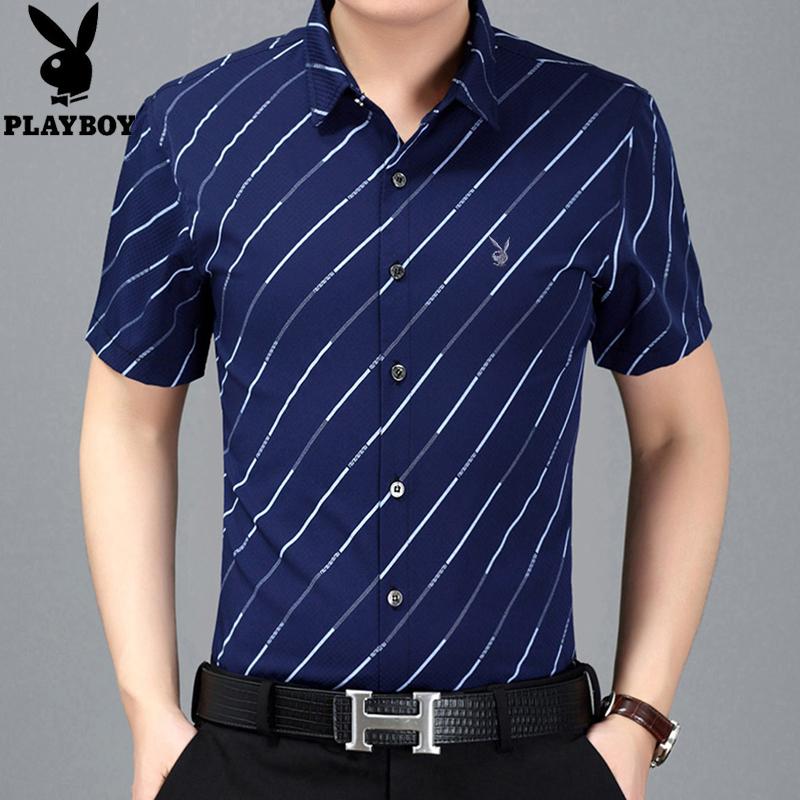 休闲衬衫夏季衬衣时尚修身条纹中青年短袖半袖花花公子男士