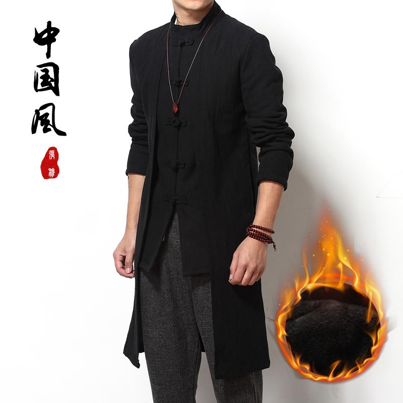 中国风男装冬季加厚长款风衣中式棉麻衣大码盘扣唐装加绒外套长衫