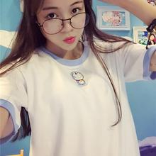 白色体恤上衣服 学生休闲半袖 百搭宽松显瘦绣花t恤女短袖 夏季韩版