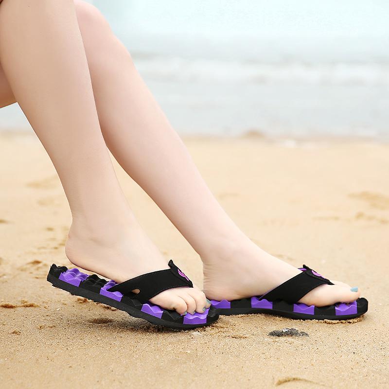 雅煊夏季甜美条纹夹趾人字拖防滑沙滩情侣凉拖鞋新款按摩休闲女鞋