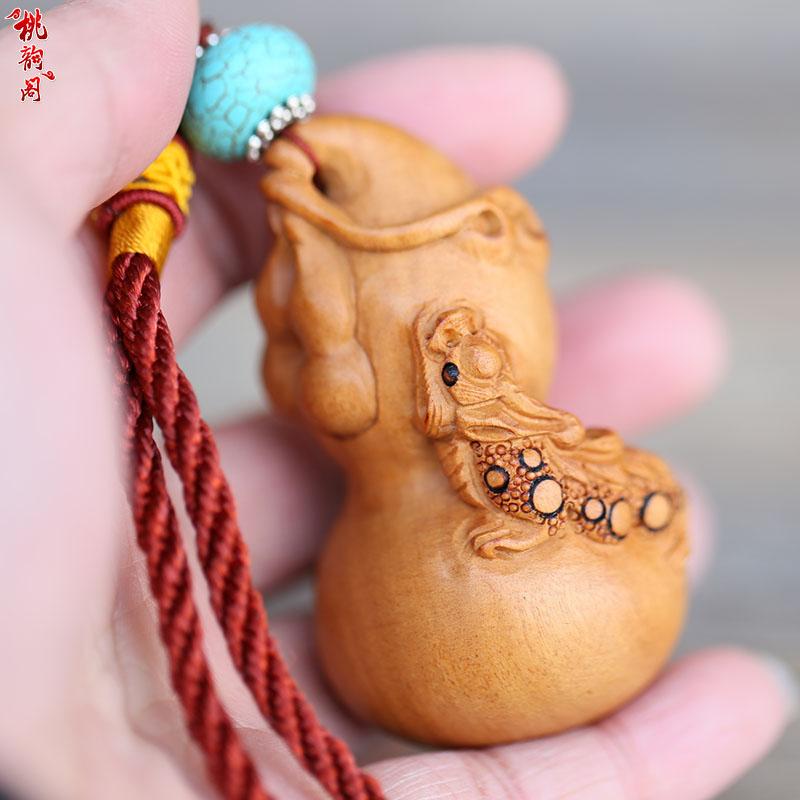 桃木葫芦把件手工雕刻貔貅手把玩强身健体送老人礼物