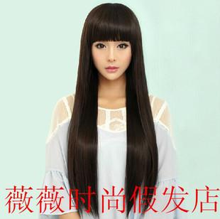 新款假发女整顶头套斜刘海长发直发齐刘海长直发中长款OL时尚款