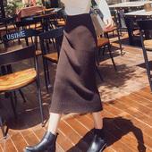 2017秋冬天新款高腰包臀针织毛线中长款港味开叉一步裙半身裙子女
